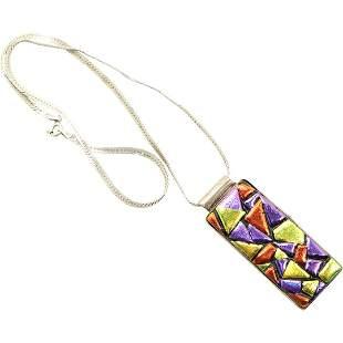 .925 Sterling Silver Foil Stone Pendant Necklace