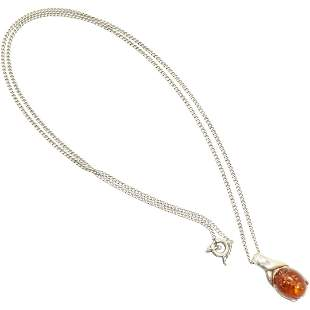 .925 Sterling Silver Amber Pendant Necklace