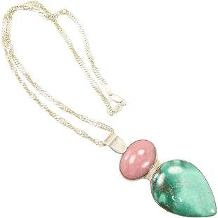 .925 Sterling Silver Pink & Green Agate Stones Necklace