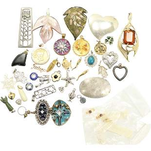 39 Assorted Pendants in Costume and Sterling - Variety