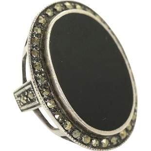 Sterling Silver, Black Onyx & Marcasites Art Deco Ring