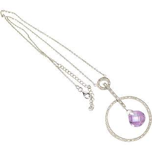 .925 Sterling Silver Amethyst Faceted Pendant Necklace
