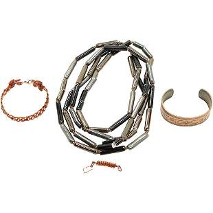 2 Copper Bracelets and Black Onyx Bead Copper Necklace