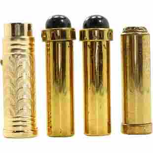 [4] Four Assorted Vintage Gold Tone Lipstick Cases