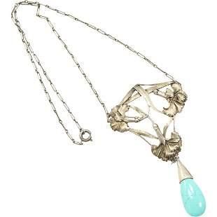 .925 Sterling Tourquoise Art Nouveau Pendant Necklace