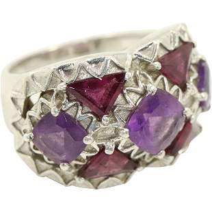 .925 Sterling Silver Rubies & Amethyst Ring Size 5