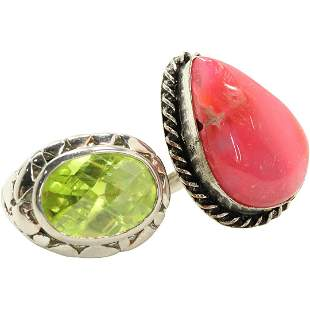 [2] Quality Costume Rings: Faceted Peridot & Pink Stone