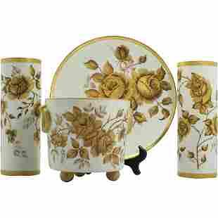 4 Pc Golden Rose Porcelain Set Artist Signed S S Buddey