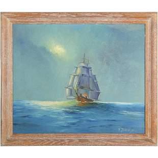 P Zitniak 1950, Oil Painting Full Sail Ship on Seas