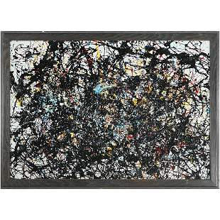 Pulgini after Jackson Pollock Abstract Drip Art Oil/b