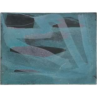 "William Crozier 1973, Oil/c ""Stone Wall Sea Storm"""