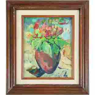 H De Neve, Modernism Still Life Oil Painting, Signed