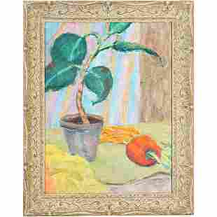 E Connolly, 1950s Still Life with Pepper Oil Painting