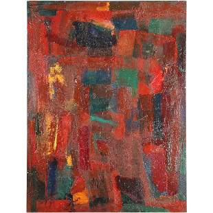 Robert, Mid-Century Modern Red Abstract Composition O/c