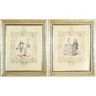 Pair Framed French Fashion Prints - Vintage