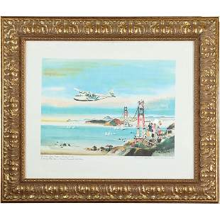 Dong Kingman, Pencil Signed Color Lithograph Plane, SF