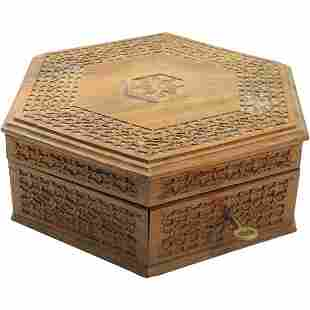 Hand Carved Walnut Hexagon Jewelry Box with Fitted Tray
