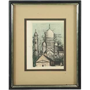 Modernism Mosque Lithograph Style of Bernard Buffet
