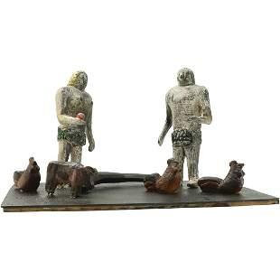 Shadori, 20th C. Folk Art Wood Carving Adam & Eve Sculp