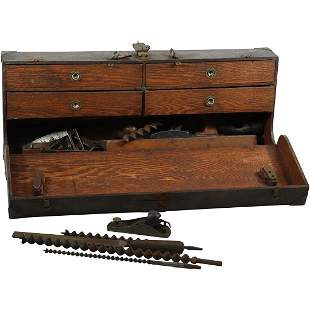 Antique Woodworker's Tool Box with Original Tools