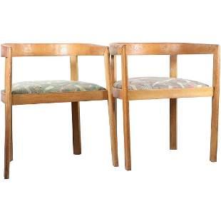 [2] Mid-Century Modern Wood Barrel Back Chairs
