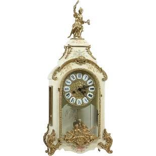 Italian Bronze Mounts Mantle Clock with Figure Top