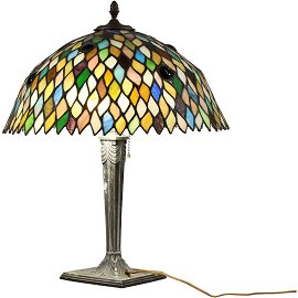 BRADLEY & HUBBARD Leaded Glass with Jewels Table Lamp