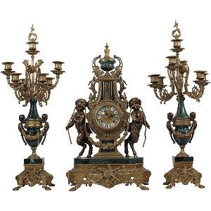 3 Pc FRANZ HERMLE BREVETTATO Brass & Marble Clock Set