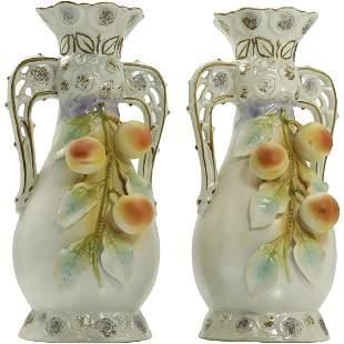 2 Hand Painted Austria Porcelain Vases Hanging Peaches