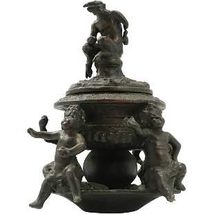 19th C. Mythological Figure Bronze Urn Putti Base