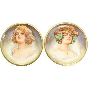 [2] Limoges France Hand Painted Women Portrait Plates