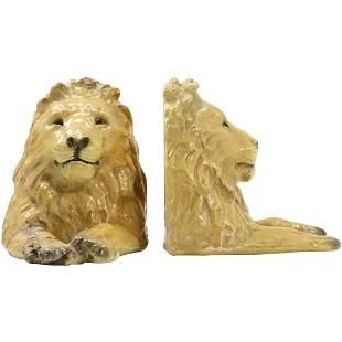 Mortens Studio, Pair Lions Bookends, Vintage