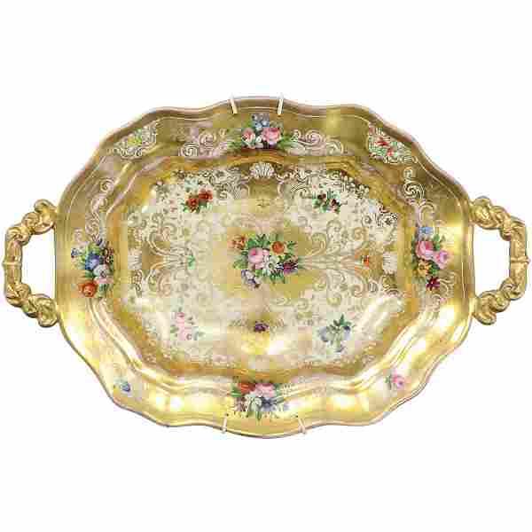 Old Paris Porcelain Serving Platter Heavy Gold Decorate