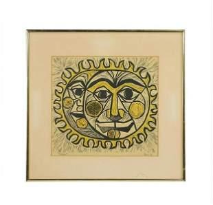 "Mid-Century Woodcut Sun & Moon ""Eclipse"" Signed 1967"
