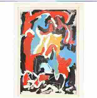 R Monti, Mid-Century Modern Abstract Oil Painting