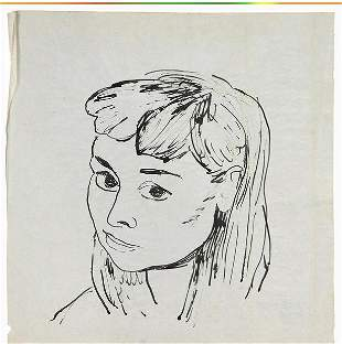 Raphael Soyer, Pencil Signed Ink Portrait Young Girl