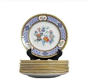 [10] Ten Minton Porcelain Luncheon Plates Urns Flowers