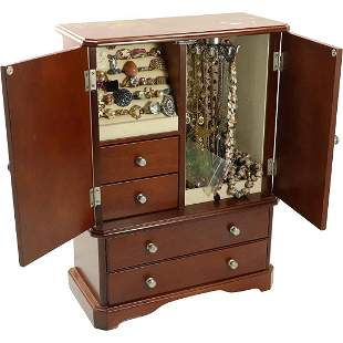 Chest on Chest Jewelry Box LOADED with Costume Jewelry