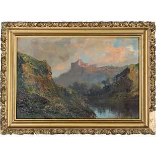 J R Califano, 19th C. Mountainous Lake Landscape Oil/b