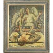 George R Imhof 1911-1983, O/c Angels over Bedridden Man