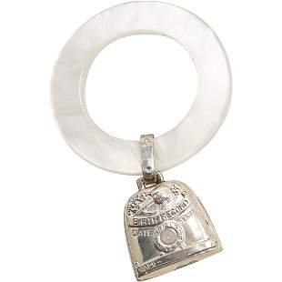 """Sterling Silver """"Birth Record"""" Rattle on Circle Ring"""