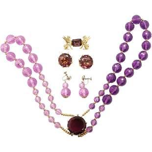 Amethyst Necklace, Earrings, Pin, Drop Earrings Group