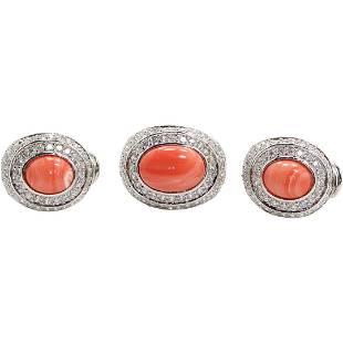 .925 Sterling Silver Orange Agate Ring & Earrings Set