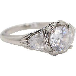 .925 Sterling Silver Cocktail Ring with CZ; Size 9.25
