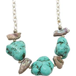 Brighton Sterling Silver and Turquoise Nuggets Necklace