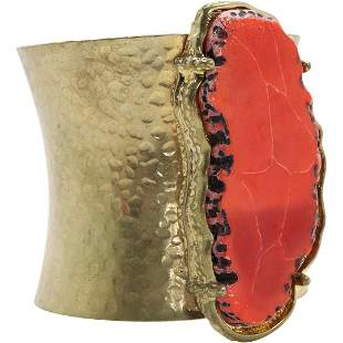 Fashion Design Wide Cuff Bracelet Large Red Stone