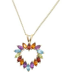 10K Gold Mothers Heart Pendant Multi Colored Stones