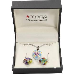 Millefiori Art Glass Heart Necklace Millefiori Earrings