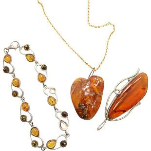 3 Pcs Amber Pendant on 10K Gold Chain; Brooch, Bracelet