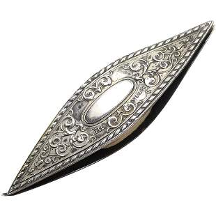 Ornate Sterling Silver Tread Spool marked F B Sterling
